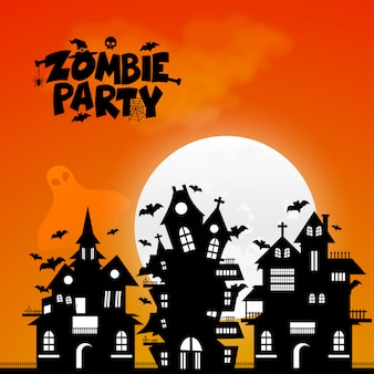Zombie party typography design vector