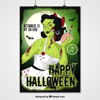 Зомби плакат девушки для хэллоуина партии