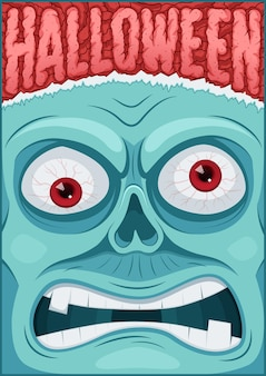 Плакат зомби. плакат на хэллоуин. плакат на хэллоуин. векторная иллюстрация.