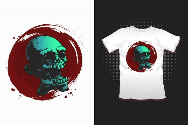 Tシャツデザインのゾンビプリント
