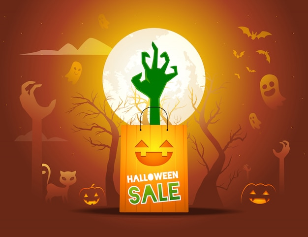 A zombie's hand comes out from paper bag illustration