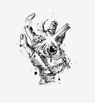 모든 것을 보는 눈을 가진 좀비의 빈티지 핸즈. 손으로 그린 스케치 그림