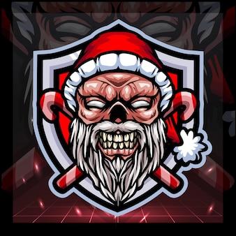 Zombie santa claus mascot esport logo design