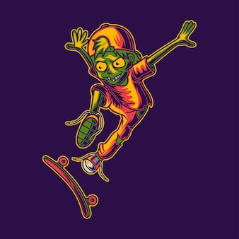 Zombie skateboarding in a jumping style
