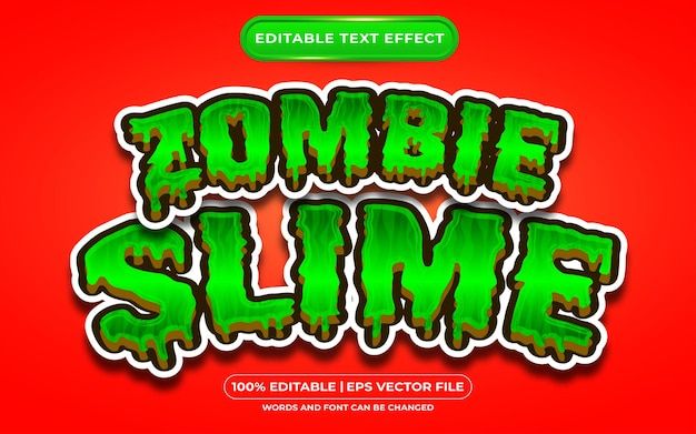 Zombie slime editable text style effect suitable for halloween event