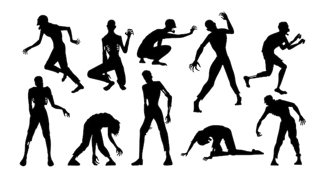 Zombie standing, run, walk, and other poses in silhouette style collection. full length of people resurrected from the dead isolated on white.