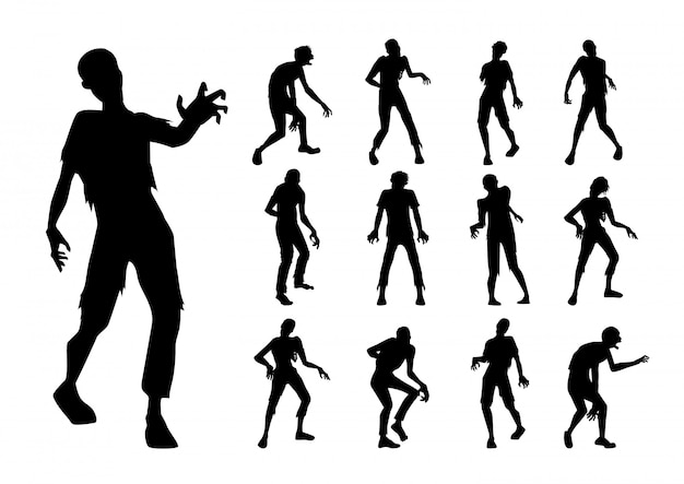 Zombie standing and walking actions in silhouette style collection.