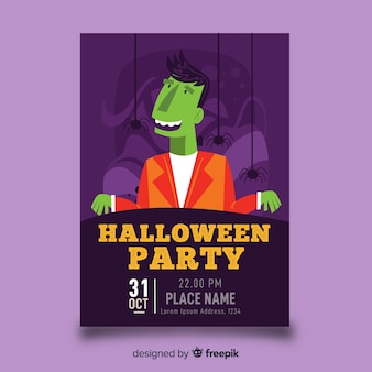Zombie in a suit halloween poster