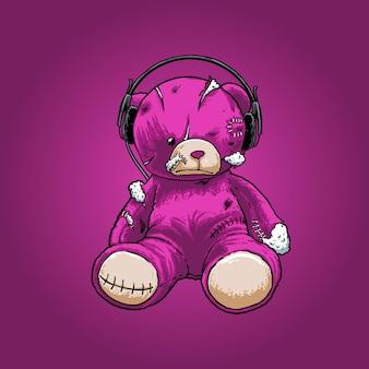 Зомби плюшевый фиолетовый медведь иллюстрация