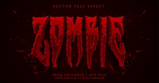 Zombie text horror editable text effect style
