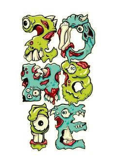 Zombie text illustration