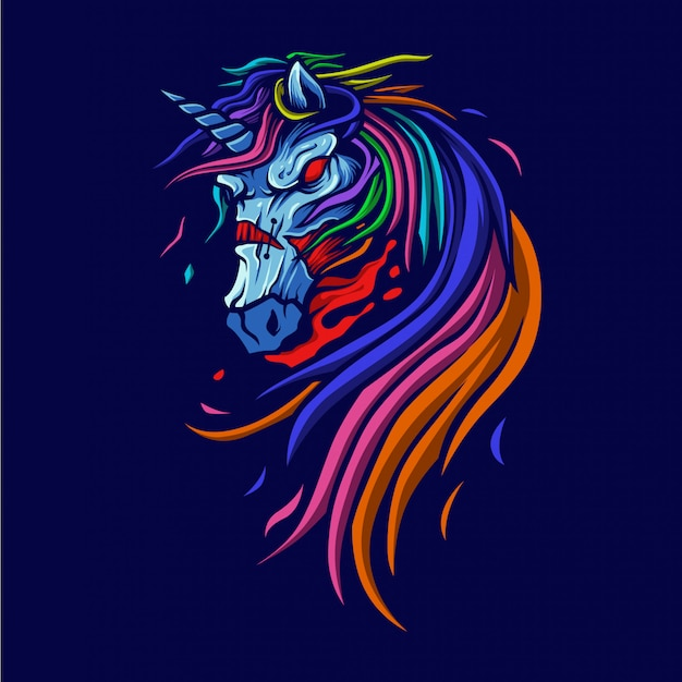 Zombie unicorn illustration
