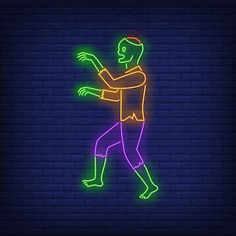 Zombie walking neon sign