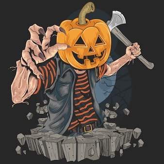 Zombie with pumpkin head killer in halloween party artwork