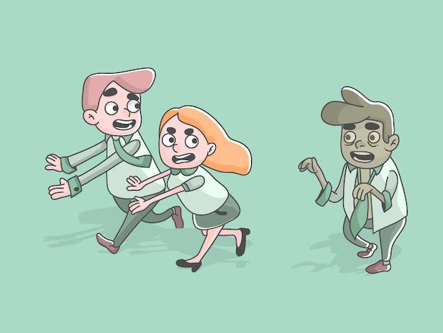 Zombie worker following running employees business halloween illustration