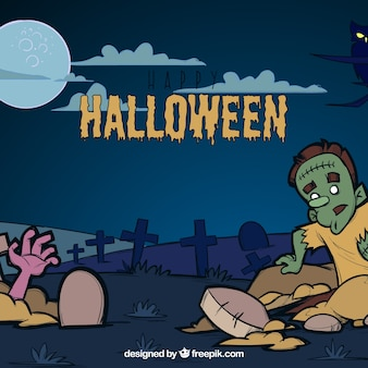 Зомби на кладбище ночью