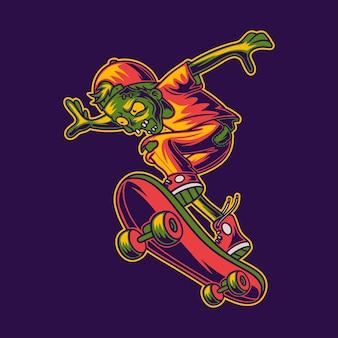 Zombies skateboarding ready to jump illustration