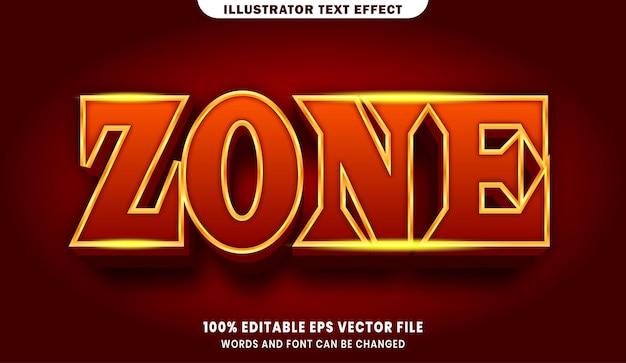 Зона 3d редактируемый эффект стиля текста