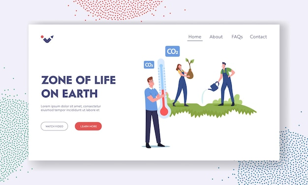 Zone of life on earth landing page template. save biosphere, stop global warming. revegetation, reforestation and planting, volunteer characters planting trees. cartoon people vector illustration
