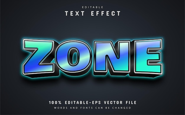 Zone text, neon text effect editable