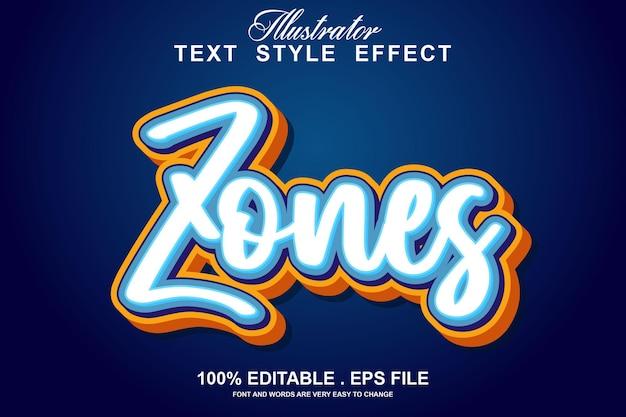Zones text effect editable