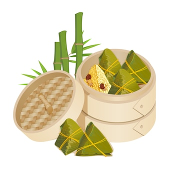 Zongzi in takeaway container isolated vector on white