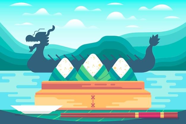 フラットなデザインのドラゴンボートのzongzi背景