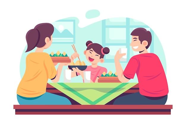 Zongziを食べるフラットスタイルの家族
