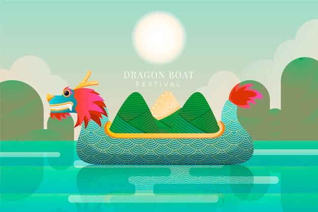 Дракон лодки zongzi фон концепции