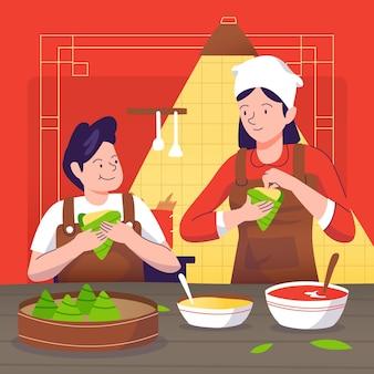 Нарисованная рукой семья дизайна подготовляя zongzi