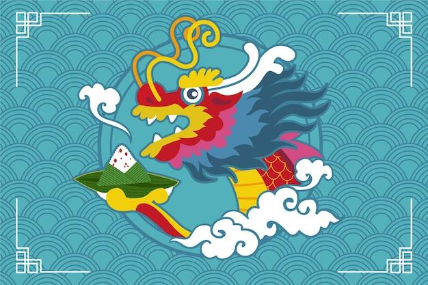Лодка дракона zongzi фон концепции