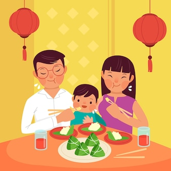 Zongziを食べるフラットデザイン家族