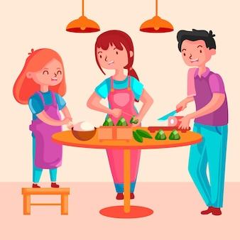 家族が祭りのためzongziを準備して食べる