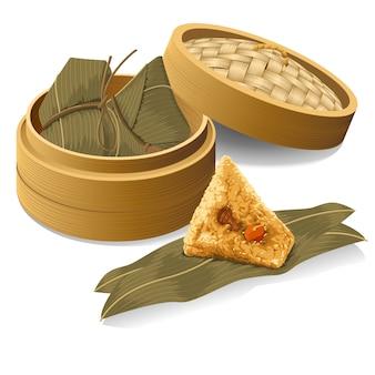 中国の餃子、zongziはドラゴンボートフェスティバルの汽船から取る
