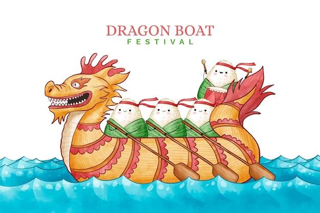 ドラゴンボートの背景にzongzi
