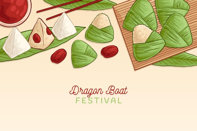 ドラゴンボートのzongzi背景のコレクション