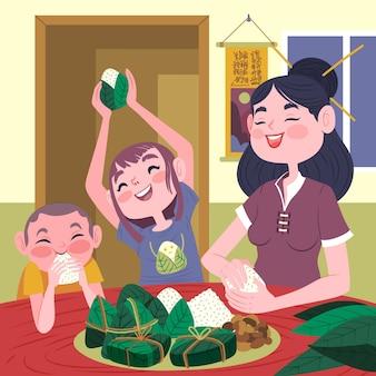手描き家族zongziの準備