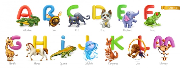 Zoo alphabet. funny animals, 3d  icons set. letters a - m  . alligator, bee, cat, dog, elephant, frog, giraffe, horse, iguana, jellyfish, kangaroo, lion, monkey.