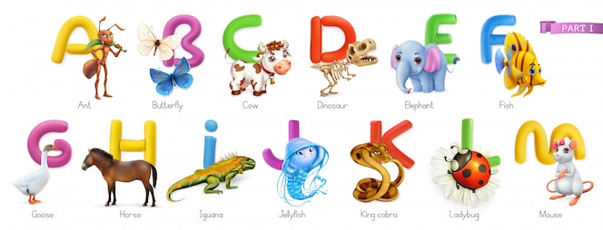 Zoo alphabet. funny animals, 3d  icons set. letters a - m  . ant, butterfly, cow, dinosaur, elephant, fish, goose, horse, iguana, jellyfish, king cobra, ladybug, mouse.