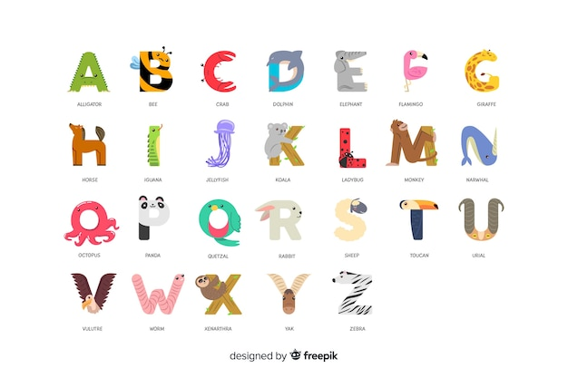 Zoo alphabet with letters in order