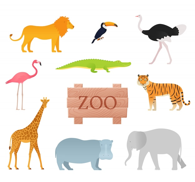 Zoo animals. . animal icon set with wooden board.