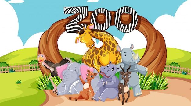 입구 표지판에 동물원 동물