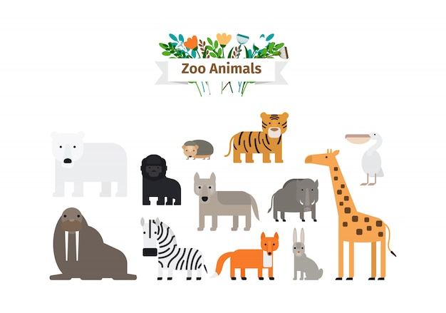 Zoo animals flat design icons set