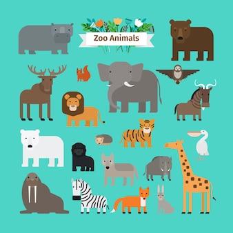 Zoo animals flat design vector icons