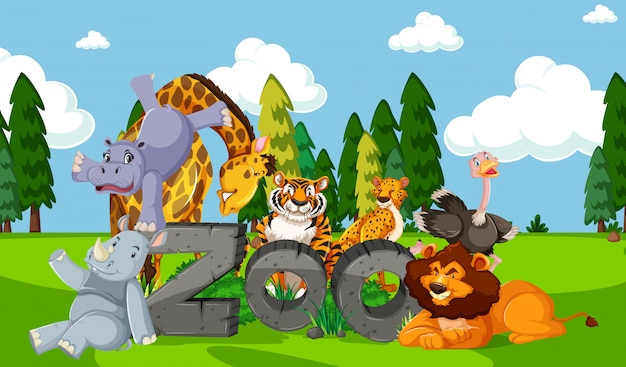 Zoo animals in the wild nature background
