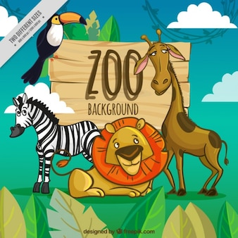 Zoo background with cartoon animals