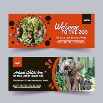 Zoo banner design with elephant, monkey watercolor illustration.