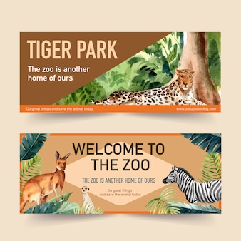Zoo banner design with leopard, meerkat watercolor illustration.