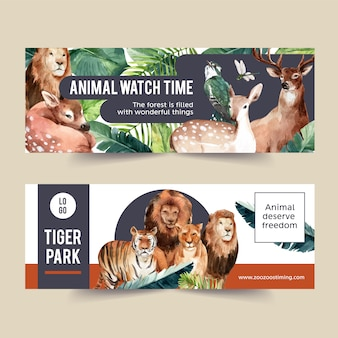 Zoo banner design with tiger, lion, deer watercolor illustration.