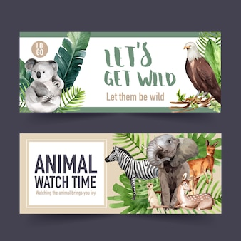 Zoo banner design with zebra, koala, meerkat watercolor illustration.
